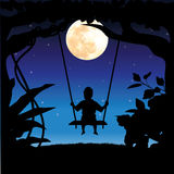 Vector illustrations, child playing the swings. Moon Stock Photo