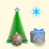 Vector illustrations Christmas and New Year attributes - a star on the spruce, a gift under the fir and festive ball in the blue. Vector illustrations Christmas Stock Photography