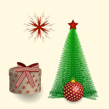 Vector illustrations Christmas and New Year attributes - a star on the spruce, a gift under the fir and festive ball in the red. Vector illustrations Christmas Royalty Free Stock Image
