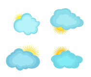 Vector illustrations clouds and the sun Stock Photography