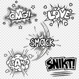Vector illustrations of comic sound effects stock illustration