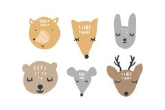Vector illustrations of cute animals, woodland nursery collection. Handmade, handcrafted, hand drawn doodle sketches vector illustration