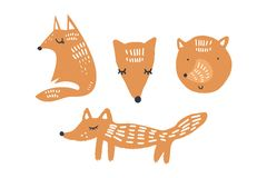 Vector illustrations of cute foxes, woodland nursery animals collection royalty free illustration