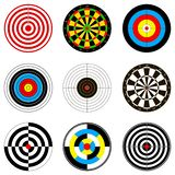 Vector illustrations with dartboards for darts game. For your design royalty free illustration