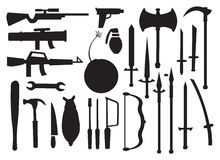 Vector illustrations of Different Tools and Weapons Stock Photo