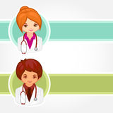 Vector illustrations of doctors. Vector cartoon illustrations of doctors Stock Photography