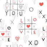 Seamless hand drawn pattern with sketch crosses and toes and hearts. Vector illustrations in doodle style vector illustration