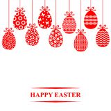 Easter decorative eggs hanging card Royalty Free Stock Images