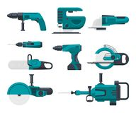 Vector illustrations of electrical construction tools. Set of electric equipment screwdriver and jackhammer, jigsaw and grinder stock illustration