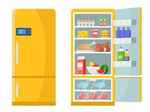 Vector illustrations of empty and closed refrigerator with different healthy food stock illustration