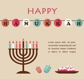 Vector illustrations of famous symbols for the Jewish Holiday Hanukkah Royalty Free Stock Photography