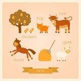 Vector illustrations of farm animals. Vector cartoon illustrations of farm animals Royalty Free Stock Image