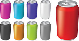 Vector illustrations of fizzy drink soda cans. Plain color soda or fizzy drink cans in different colorways Royalty Free Stock Images