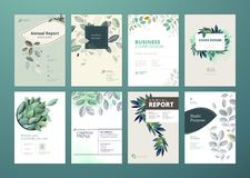 Set of brochure and annual report cover design templates on the subject of nature, environment and organic products Royalty Free Stock Photography