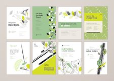 Set of brochure and annual report cover design templates on the subject of nature, environment and organic products Stock Images