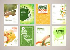 Set of restaurant menu, brochure, flyer design templates in A4 size Royalty Free Stock Photography