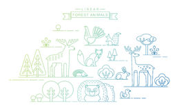 Vector illustrations of forest animals. Stock Photos