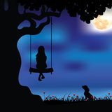 Vector illustrations Girl playing the swings Royalty Free Stock Photos