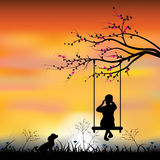 Vector illustrations Girl playing the swings Stock Photo