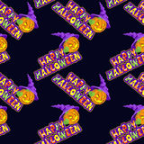 Vector illustrations of Halloween pattern seamless with pumpkin and lettering on dark background Stock Photo