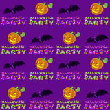 Vector illustrations of Halloween pattern seamless with pumpkin and lettering on dark violet background Stock Photos