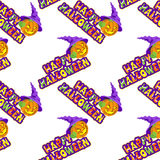 Vector illustrations of Halloween pattern seamless with pumpkin and lettering. Royalty Free Stock Images