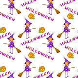 Vector illustrations of Halloween pattern seamless with witch and lettering. Stock Photography