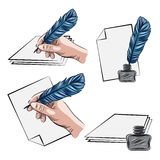 Vector illustrations of hand holding feather pen aand inkpot Stock Photo