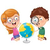 Vector Illustrations Of Kids Having Geography Lesson. Eps 10 Stock Photography