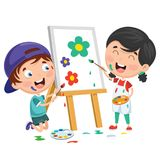 Vector Illustrations Of Kids Painting On Canvas. Eps 10 Royalty Free Stock Photos