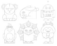 Hand puppet toys characters vector illustrations Stock Photography