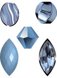 Vector illustrations of Lace blue agate, a blue gem and blue beads Stock Photography
