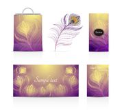 Vector illustrations of leaflets , cards, peacock feathers, shopping bag royalty free stock photo