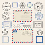 Vector illustrations of letters and postmarks, airmail designs. Antique stamps Stock Image