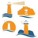 Vector illustrations with lighthouse Stock Photo