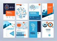 Set of medical brochure, annual report, flyer design templates in A4 size Stock Image