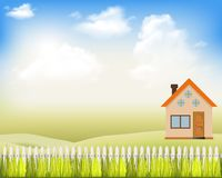 Free Vector Illustrations Modern House On The Nature With A White Fence And Blue Sky With Clouds. Family Home. Rural Landscape. Royalty Free Stock Photos - 124625258