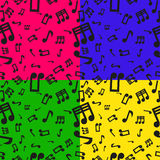 Set Of 4 Seamless Musical Notes Pattern Stock Photography