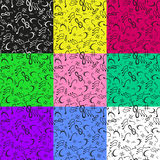 Set Of 9 Musical Notes Seamless Pattern Royalty Free Stock Photos
