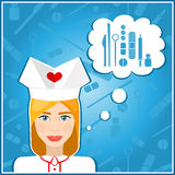 Vector illustrations of a nurses. Nurse, nanny. The girls face. Icon. Flat icon. Minimalism. The stylized girl. Occupation.  Royalty Free Stock Photos