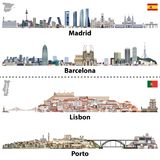 Vector Illustrations Of Madrid, Barcelona, Lisbon And Porto City Skylines. Maps And Flags Of Spain And Portugal Royalty Free Stock Photography