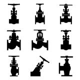 Set of industrial valve icons. Stop and angle valve. Silhouette vector Royalty Free Stock Photography