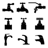 Set of valve and faucet icons. Silhouette vector Stock Image