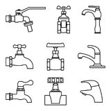 Set of valve and faucet icons. Thin line vector Stock Photography