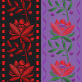 Vector illustrations Seamless pattern ribbon with Red flower roses embroidery on textile background. stock illustration