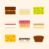 Vector illustrations set of birthday cakes in simple geometric f Royalty Free Stock Image