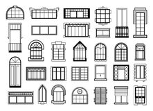 Vector illustrations set with different silhouettes of window frames. Window frame silhouette for house or home, construction windows architectural classic Royalty Free Stock Images