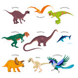 Vector illustrations set of dinosaurs in cartoon style. Jurassic. Cute colorful dino stickers with titles: Tyrannosaurus rex, Raptor etc Royalty Free Stock Photography