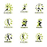 Vector illustrations set, excited abstract person with raised ha. Nds up. Go green idea creative graphic abstract symbol royalty free illustration