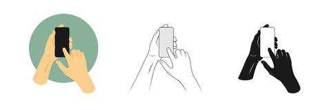 Vector illustrations set man`s hands hold smartphone and touches screen with one finger. Outline, silhouette and color pictures royalty free illustration